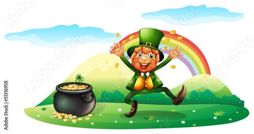 Foto auf Gartenposter Die magische Welt An old man near the hill with coins