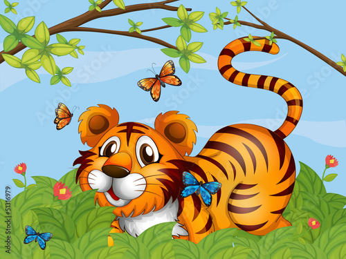 Foto op Aluminium Vlinders A tiger with butterflies in the garden