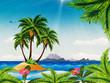 Grunge tropical island in the ocean