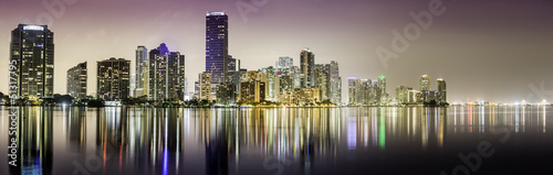 Miami downtown panorama at night