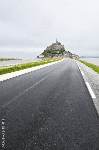 Poster  Road to the beautiful Mont Saint-Michel, Normandy, France