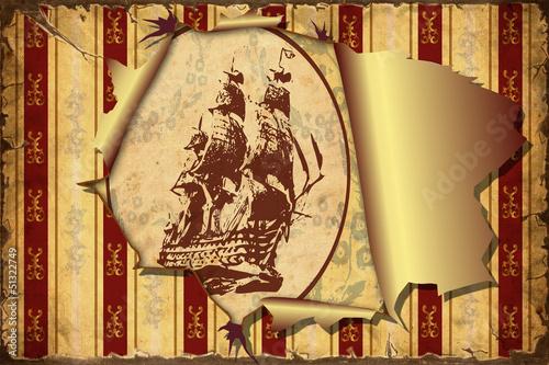Foto op Plexiglas Vintage Poster 3D Aufgerissene Tapete - Segelschiff