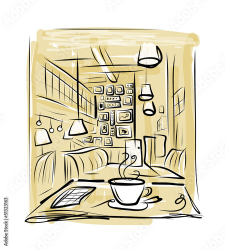 Photo sur Toile Drawn Street cafe Morning coffee in cafe, sketch for your design