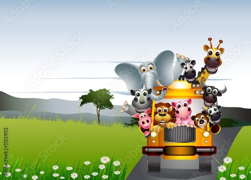 Foto op Aluminium Zoo funny animal cartoon on yellow car and tropical forest
