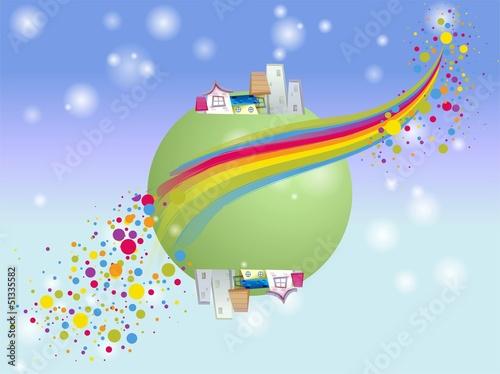 In de dag Regenboog zielona planeta