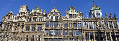Foto op Canvas Brussel Panorama of the impressive Guildhalls in Grand Place, Brussels