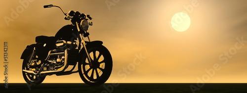 Poster Motocyclette Motobike sunset - 3D render