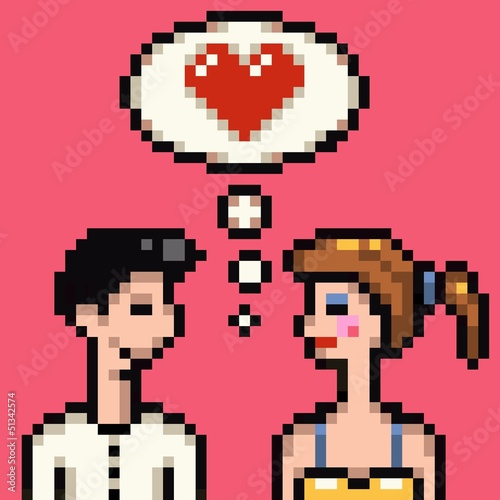 Deurstickers Pixel retro heart pixel lovers illustration