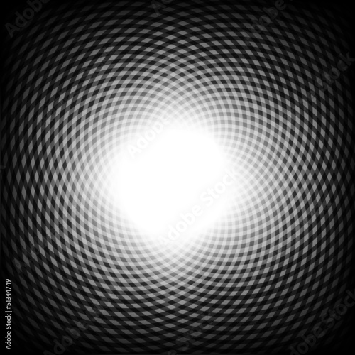 Spoed Foto op Canvas Psychedelic Black and white optical illusion background, vector.