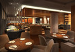 canvas print picture - 3d render of a restaurant interior