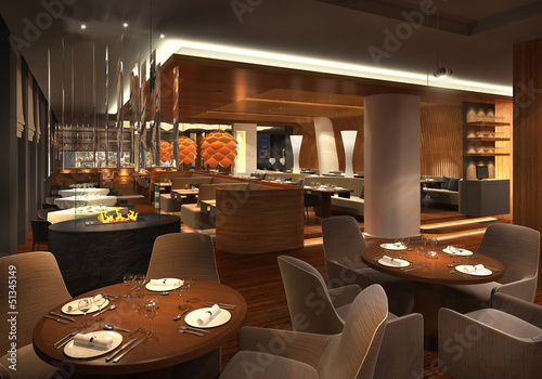 Deurstickers Restaurant 3d render of a restaurant interior