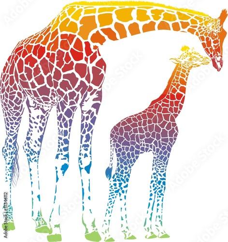 wektor-tecza-zyrafa-matka-z-mlodym