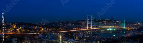Canvas Print night at Bosporus Bridge istanbul Turkey