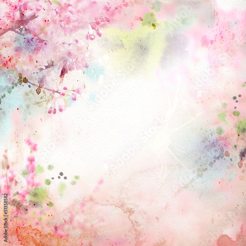 Scenic watercolor background, floral composition Sakura Poster