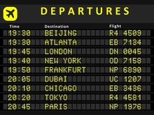 Departure Board With Flights T...