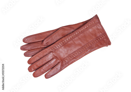 Fotografie, Obraz  woman brown glove isolated on white