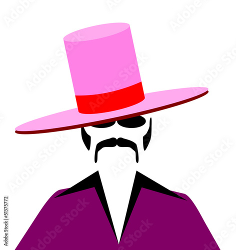 man with large pink pimp hat Fototapet