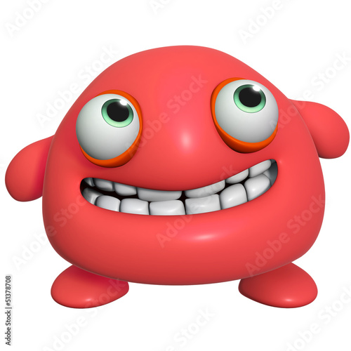Papiers peints Doux monstres 3d cartoon cute red monster