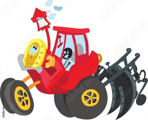 Fotobehang Boerderij Tractor