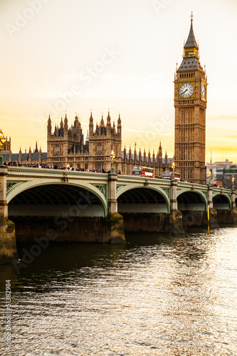 Foto op Canvas Londen Big Ben Clock Tower and Parliament house at city of westminster,