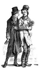 Fototapeta na wymiar Ugly Men : Caricature - 19th century