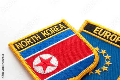 Deurstickers Noord Europa north korea and europe