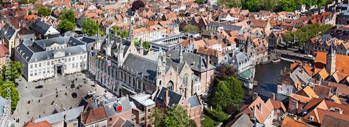 Deurstickers Brugge Panorama of aerial view of Bruges (Brugge), Belgium