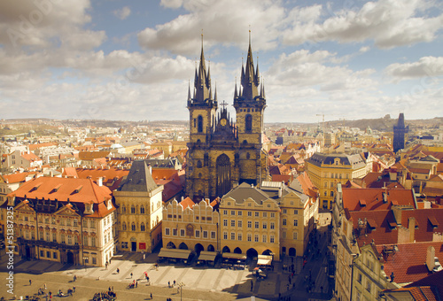 Poster Prague view of the church of Maria Tyn