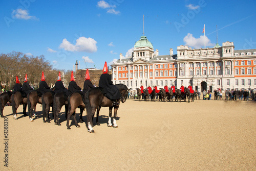 Military parade with horses Canvas Print