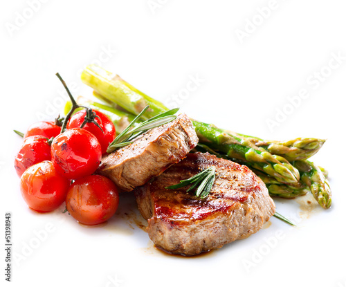 Deurstickers Steakhouse Grilled Beef Steak Meat over White