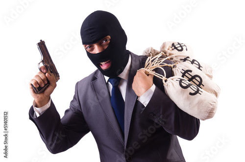 Gangster with bags of money on white Fototapeta