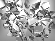 3d Silver Metallic Abstract Crystal Background