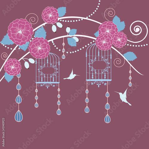 In de dag Vogels in kooien Abstract tree in blossom