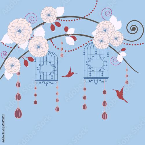 In de dag Vogels in kooien Springtime in garden