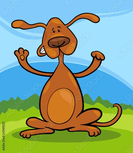 Poster Dogs cute playful standing dog cartoon