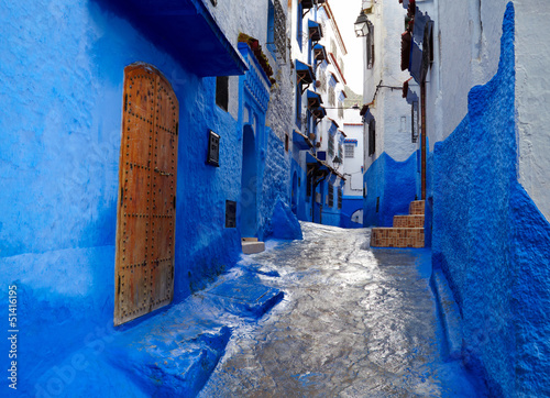Poster Maroc Inside of moroccan blue town Chefchaouen medina