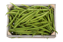 Wooden Crate With Fresh Green Beans Viewed From Above