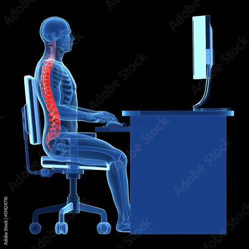 Fotografía  3d rendered medical illustration - correct sitting posture