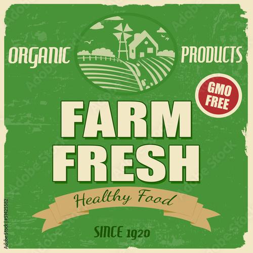 Papiers peints Affiche vintage Farm fresh poster