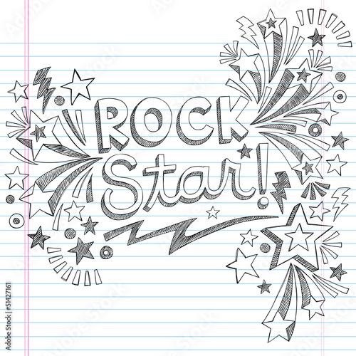 Valokuva  Rock Star Music Back to School Sketchy Notebook Doodles