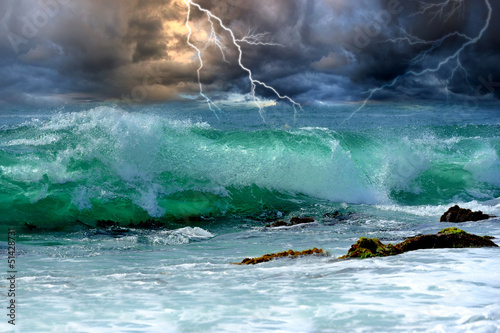 Poster Tempete Ocean storm