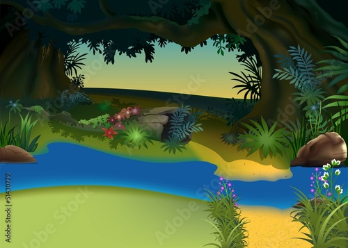 Printed kitchen splashbacks Forest animals Mysterious Forest