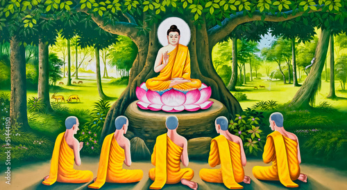 Foto op Plexiglas Boeddha The Buddha's teaching image on Thai temple wall