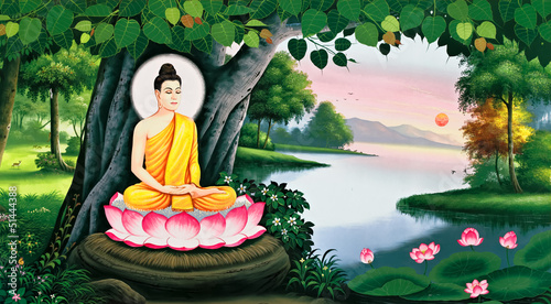 Tuinposter Boeddha The meditation of Buddha image on Thai temple wall