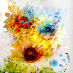 FototapetaWatercolor sunflowers