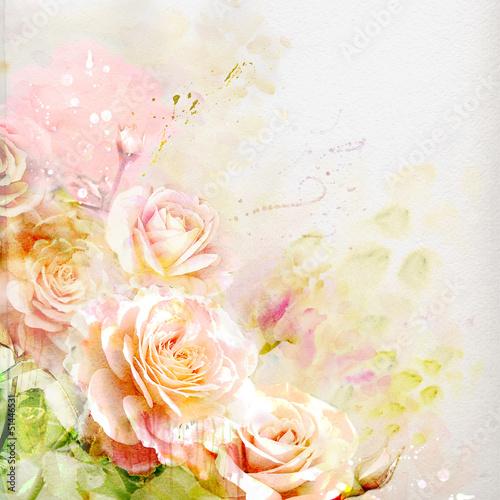 Naklejki kwiaty akwarela-roz
