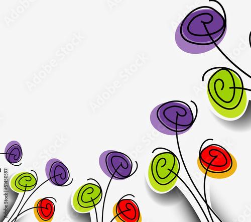 Tuinposter Abstract bloemen Retro vector floral design element background.