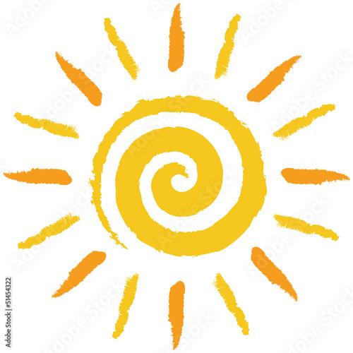 Tuinposter Spiraal Gelb-orange, handgezeichnete Spiralensonne – Vektor/freigestellt