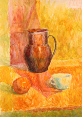Fototapeta Style Watercolor still life with drapery