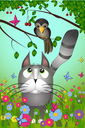 Vector illustration of a cat looking to the bird